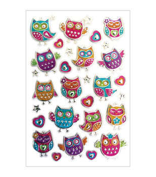 Forever In Time Glitter Owls Foil Stickers Sheet