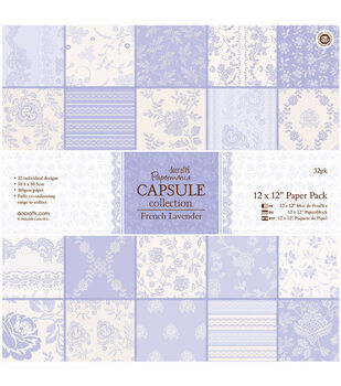 Papermania French Lavender Capsule Paper Pack 12''x12''