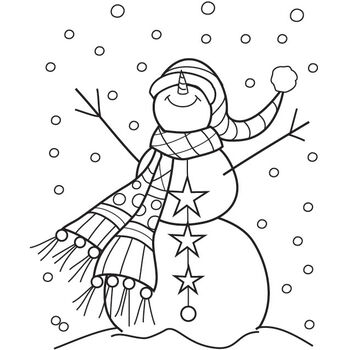 Hampton Art Outlines Mounted Rubber Stamp Snowman Sparkle