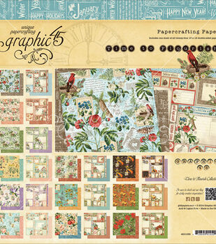 "Graphic 45 Paper Pad 12""X12"" 24/Pkg-Time To Flourish"
