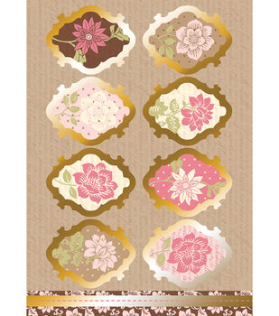 Kanban Shabby Chic Die-Cut Punch-Out-Vintage Flowers Pink/Ivory