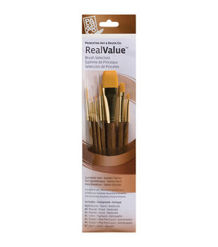 Real Value Brush Set Synthetic Gold Taklon
