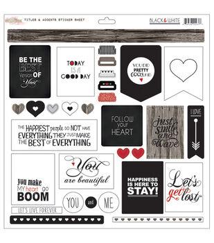 Glitz Design Black & White Titles & Accents Cardstock Stickers