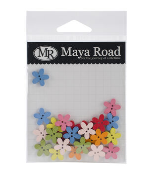 Maya Road Flower Garden Wood Buttons 24/Pkg