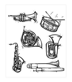 "Tim Holtz Cling Rubber Stamp Set 7""X8.5""-Carved Instruments"