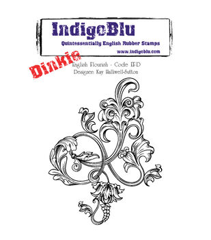 IndigoBlu Cling Mounted Stamp English Flourish-Dinkie