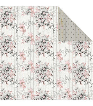 Fabscraps Elegant Chic Shabby Flowers Double-Sided Cardstock