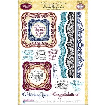 JustRite Clear Stamp Set Celebration Labels One & Bracket One