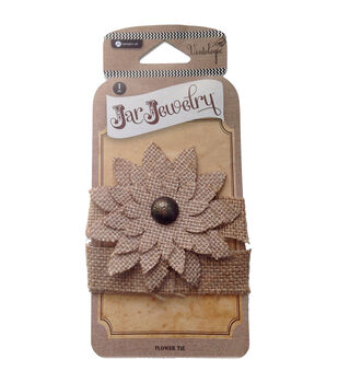 Hampton Art Jar Jewelry Burlap Natural Flowers For Pint Jars With Tie
