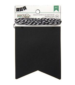 "DIY Shop Banner 24pcs W/String-Chalkboard Notch, 3.5""X4.5"""