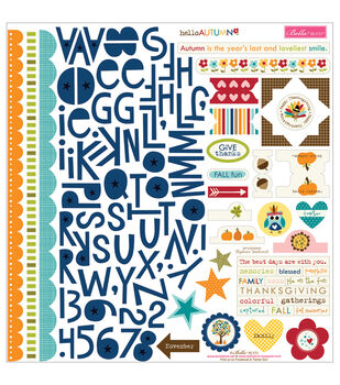 "Hello Autumn Cardstock Stickers 12""X12""-Treasures & Text"