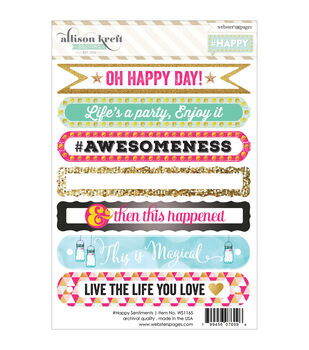 Webster's Pages #HAPPY Sentiments Stickers 4''x6''