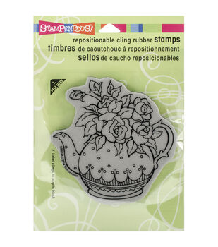 Stampendous Teapot Posies Cling Rubber Stamp Sheet