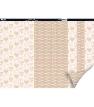 Kanban Patchwork 2Sided Cardstock 12X12-Dots Pink/Beige/Brown