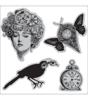 Hampton Art Graphic 45 Cling Stamps Sheet Time Flies