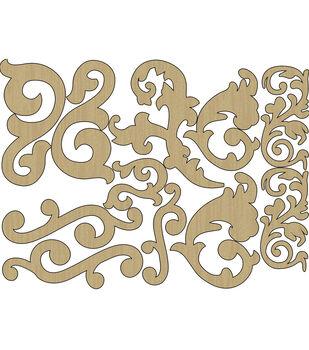 Adorn-It Wisteria Flourishes Laser-Cut Wood Shapes