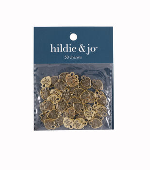 """Goldtone """"Made with Love"""" Metal Charms 50/pkg"""