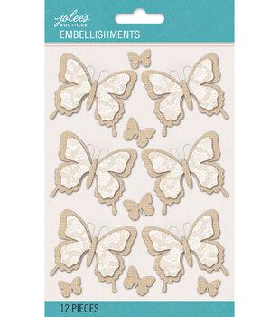 Jolee's Boutique - Burlap and Lace Dimensional Butterflies