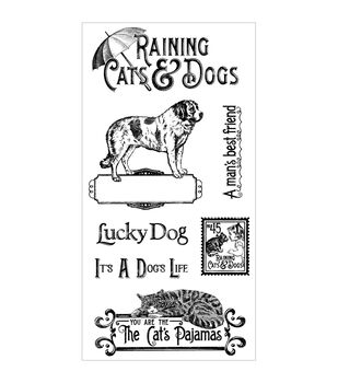 Graphic 45 Raining Cats & Dogs Cling Stamps-#1