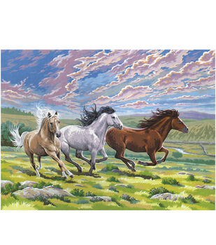 Reeves 12''x15-1/2'' Paint By Number Kit-Galloping Horses