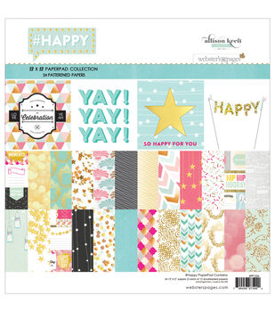 Webster's Pages HAPPY Paper Pad 12''x12''