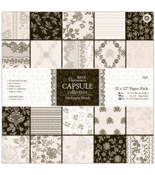 "Papermania Paper Pack 12""X12"" 32/Pkg-Midnight Blush"