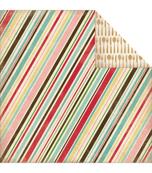Carta Bella Homemade With Love Double-Sided Cardstock Baking Stripe