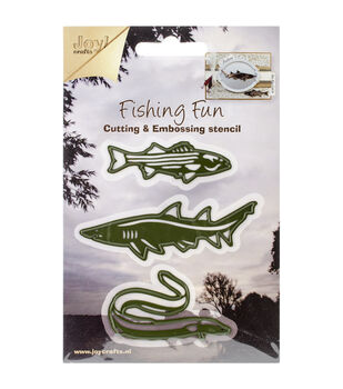 "Joy! Crafts Cut & Emboss Die-Fishing Fun, 3 Pieces Up To 3.25"" Long"