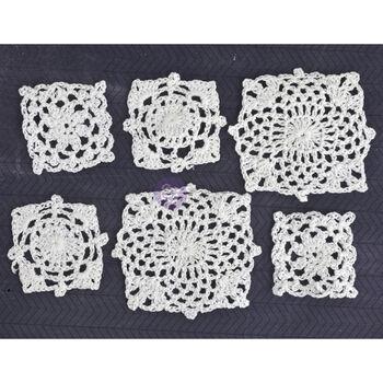 Prima Marketing Crochet Doilies Square White