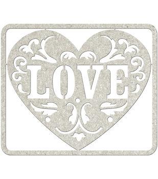 Fabscraps Love Die-Cut Gray Chipboard Word