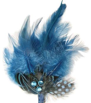 Mark Richards Feathers With Rhinestones 1/Pkg-Blue