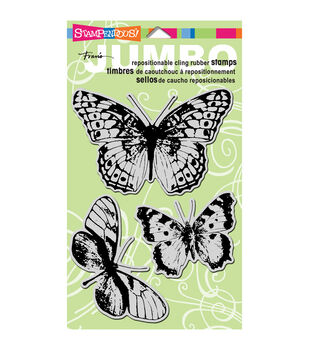 Stampendous Jumbo Cling Rubber Stamp-Butterfly Trio
