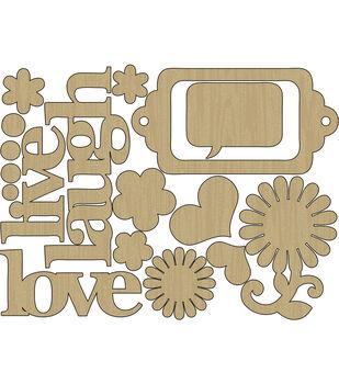 Adorn-It You & Me Live, Laugh, Love Laser-Cut Wood Shapes