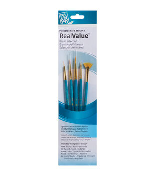 Brush Set Synthetic Gold Taklon-Round 3/0,3,Liner 20/0,Fan 12/0,Ang 0