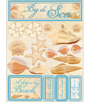 """Signature Dimensional Stickers 4.5""""X6"""" Sheet-By The Sea"""