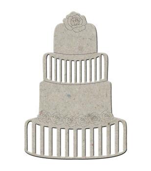 """Die-Cut Grey Chipboard Embellishments-Wedding Cake 4.5""""X3.25"""""""