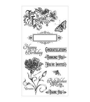 Graphic 45 Time To Flourish #1 Cling Stamps