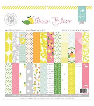 Pink Paislee Citrus Bliss Paper Pad 12''x12''