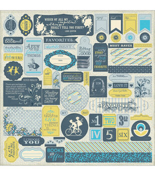 """Favorite Cardstock Stickers 12""""X12""""-Details Pennants, Quotes & Phrases"""