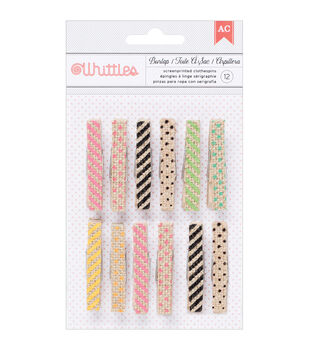American Crafts Whittles Burlap Prints Clothespins