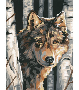 Dimensions Paint By Number Kit Wolf Among Birches