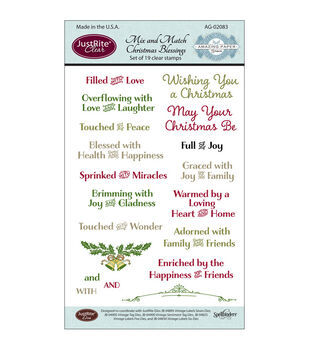 """JustRite Papercraft Clear Stamp Set 4""""X6""""-Mix & Match Christmas Blessings 19pc"""