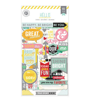 Hello Sunshine Chipboard Stickers Flip Pack 3/Sheets-Frames, Word Art & Shapes