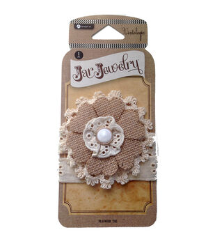 Hampton Art Jar Jewelry Burlap Lace Flowers For Pint Jars With Tie