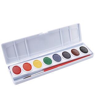 Prang Oval Pan Watercolor Paint W/Brush-8 Colors