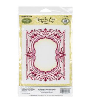 """JustRite Papercraft Cling Background Stamp 4.5""""X5.75""""-Vintage Rose Frame"""