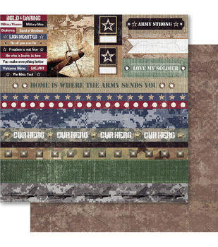 Ruby Rock-It Military Cut-Outs Double-Sided Cardstock