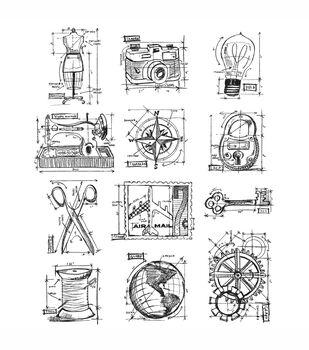 Tim Holtz Large Cling Rubber Stamp Set-Mini Blueprints 3