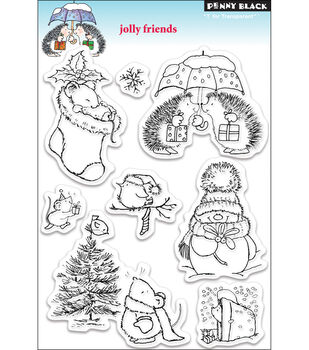 """Penny Black Clear Stamp 5""""X7.5"""" Sheet-Jolly Friends"""