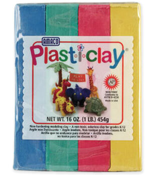 Amaco Plasti-Clay 1 Pound-Red/Blue/Yellow/Green